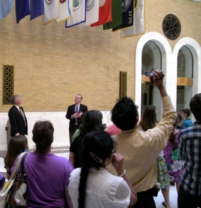 Senator Donnelly and Representative Garballey with the group in the Hall of Flags