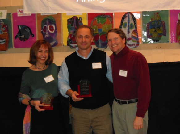Presentation of the 2012 Alan McClennen Community Arts Award to Adria Arch and Don Benjamin for their leadership of Arlington Public Art.  APA's first large-scale project, the Spy Pond Mural, was completed this fall.  Congratulations Adria and Don!