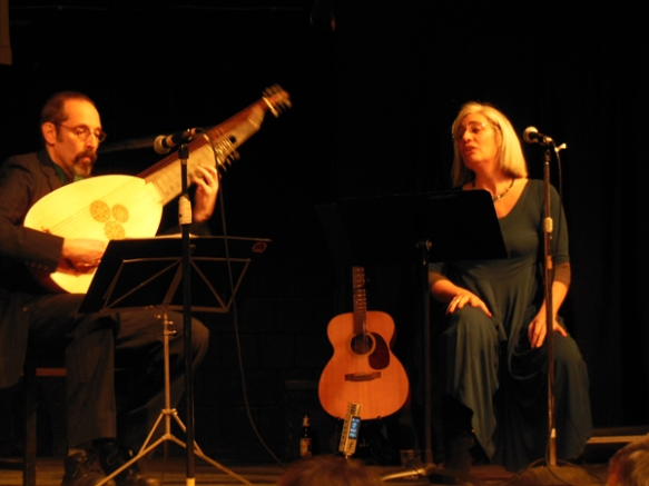 """Guests were treated to the world premiere """"Old/New"""" performance by the Foggy Mountain Consort.  Pictured here: Peter Lehman, theorbo, Anne Goodwin, vocals."""