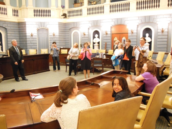 The kids had a special private tour of the State House, including this visit to the Senate chambers, where they learned a secret about what many Senators keep in their desk drawers.. (think chocolate...!)