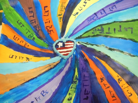 "Counselors in Training created art inspired by music, including this great response to the Beatles' song ""Let it Be"""